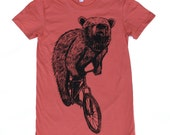Womens Bear on a BIKE american apparel tee S M L XL (Pomegranate) ORGANIC cotton