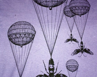 Steampunk Hot Air Balloon Insect Purple T-Shirt - American Apparel Amethyst -Complimentary Shipping - Available in xs, s, m, l, xl, and xxl