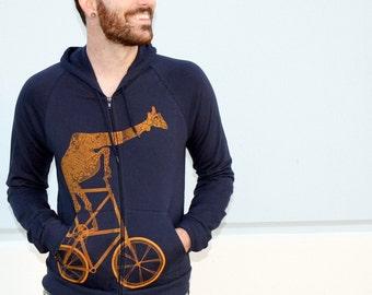 Giraffe on a bicycle- Unisex Hooded Sweatshirt- Mens Hoodie, Unisex Hoodie, Handmade graphic tee, Bicycle shirt, Bike Tee, sizes xs-xxl