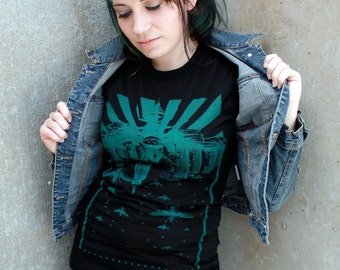 Womens Wasp City INSECT tshirt - S M L Xl Black