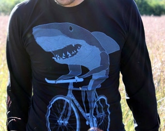 Shark on a bicycle - Mens long sleeve shirt, Unisex Tee, Cotton Tee, Handmade graphic tee, Bicycle shirt, Bike Tee, sizes xs-xxl