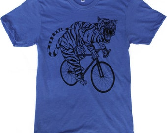 Tiger on a bicycle - Mens T Shirt, Unisex Tee, Cotton Tee, Handmade graphic tee, Bicycle shirt, Bike Tee, sizes xs-xxl