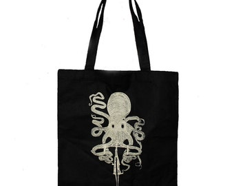 Octopus on a bicycle - Screen Printed Tote Book Bag