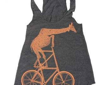 Giraffe on a bicycle- Womens Tank Top, Ladies Tank, Slouchy, Handmade graphic tank, sizes s-xL