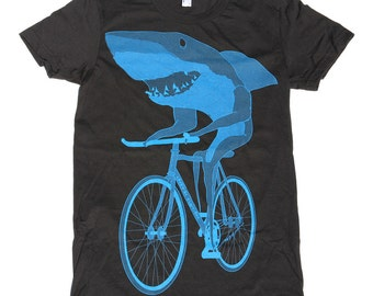 Womens SHARK BICYCLE T-Shirt american apparel S M L XL (Black)