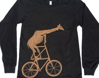 Giraffe on a bicycle- Mens Long Sleeve Shirt, Unisex Tee, Cotton Tee, Handmade graphic tee, Bicycle shirt, Bike Tee, sizes xs-xxl
