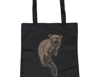 Bear on a mountain BIKE Screen Printed Tote Book Bag