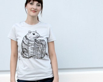Unisex RAT (with accordian) american apparel TSHIRT X S S M L Xl and X X L (Silver)