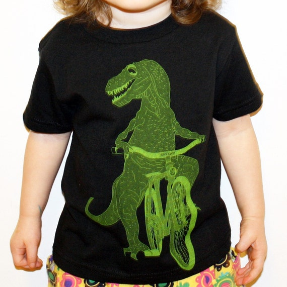 Dinosaur on a Bicycle - T-Shirt -Toddler  - FREE SHIPPING - Available in 2T, 3T, 4T