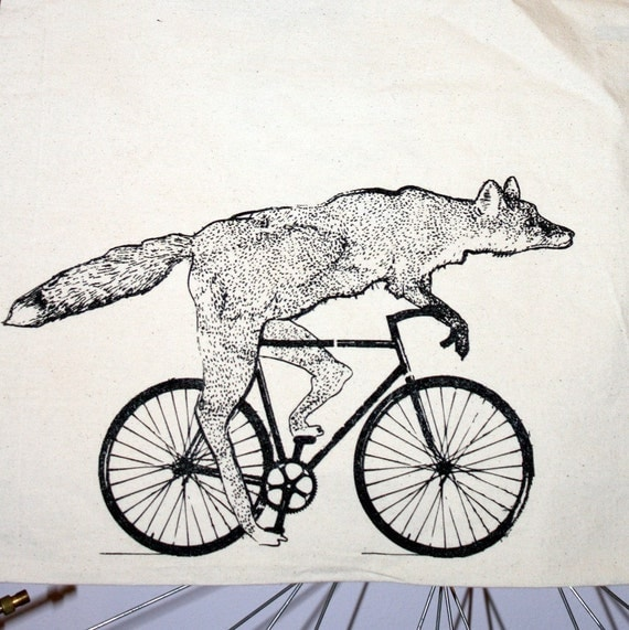 Fox on a Bike - Natural Cotton Tote Bag - FREE SHIPPING