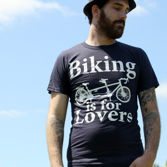 Biking is for Lovers - Tandem Bicycle TShirt - Organic Cotton Navy Blue - Available in XS, S, M, L, XL and XXL - Bike Shirt