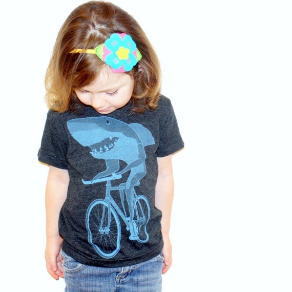 Shark on a Bike - American Apparel Toddler Tri-Blend T-Shirt - FREE SHIPPING - Available in 2T, 4T and 6T