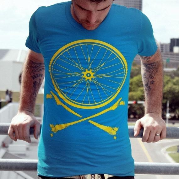 Dark Cycle Bike Wheel and Crossbones Teal T-Shirt - Bicycle Shirt -  American Apparel TShirt