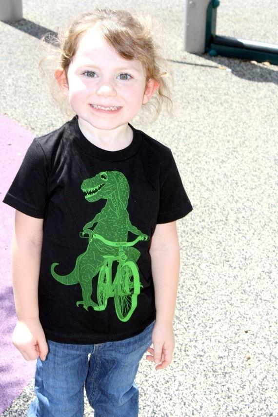 Boys DINOSAUR t rex on bicycle T-Shirt (Sizes 2-12)