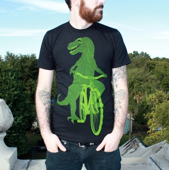 Dinosaur on a Bicycle - T Shirt - Unisex American Apparel Shirt  - Available in xs, s, m, l, xl and xxl