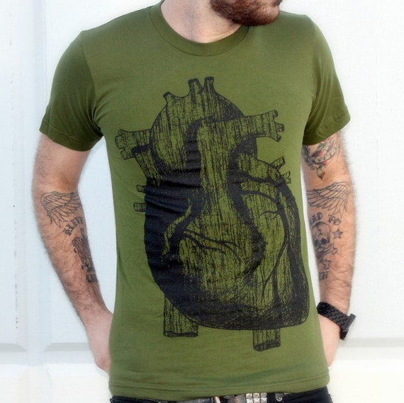 Men's ANATOMICAL HEART illustration t shirt american apparel X S S M L X L and X X L (olive green)