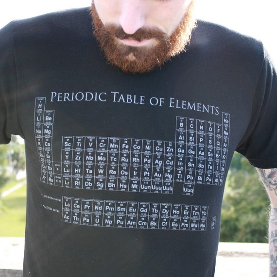 Periodic Table TShirt - Black American Apparel Unisex - free shipping - Available in xs, s, m, l, xl and xxl