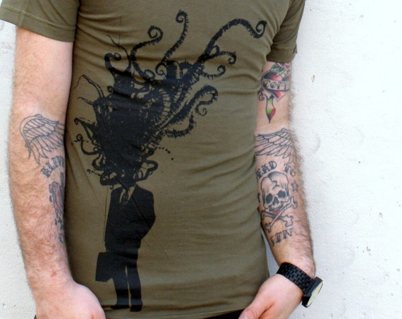 MENS Octopus Corporate Man Explosion on an Army Green American Apparel Unisex TShirt  - Available in xs, s, m, l, xl and xxl