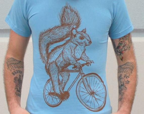 Squirrel on a Bicycle- Baby Blue American Apparel Cotton Shirt  - T-Shirt Available in xs, s, m, l, xl and xxl