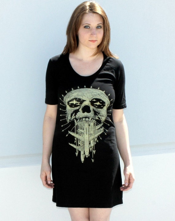 CLEARANCE Skull and Arrows -Black American Apparel TShirt Dress - XL