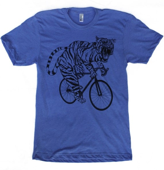 Unisex TIGER on a bicycle Short Sleeve T Shirt american apparel XS S M L Xl xxl (Heather Lake Blue) Custom color shirt