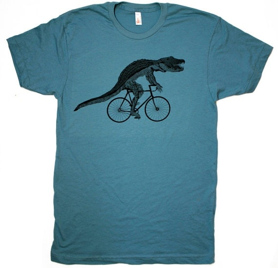 Mens ALLIGATOR bicycle T-Shirt american apparel (More color options available)