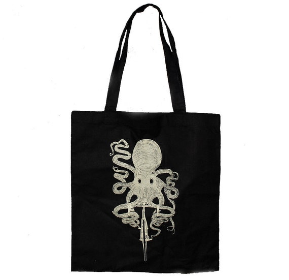 Octopus on a BIKE Screen Printed Tote Book Bag