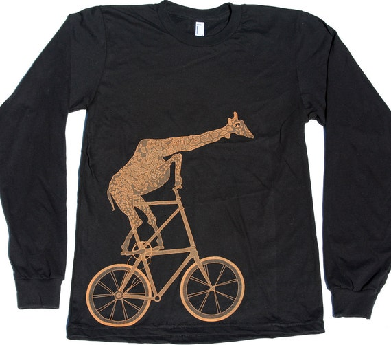 Mens BICYCLE Tshirt GIRAFFE on a  BIKE Unisex black American Apparel Long Sleeve