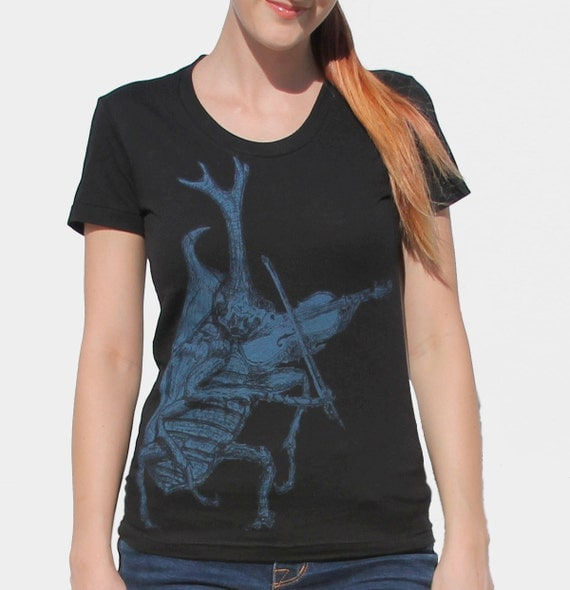 womens tshirt insect beetle playing violin by