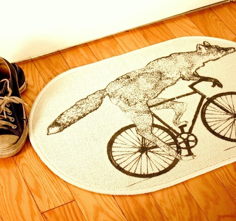 fox on a bike natural creme white rug bath by