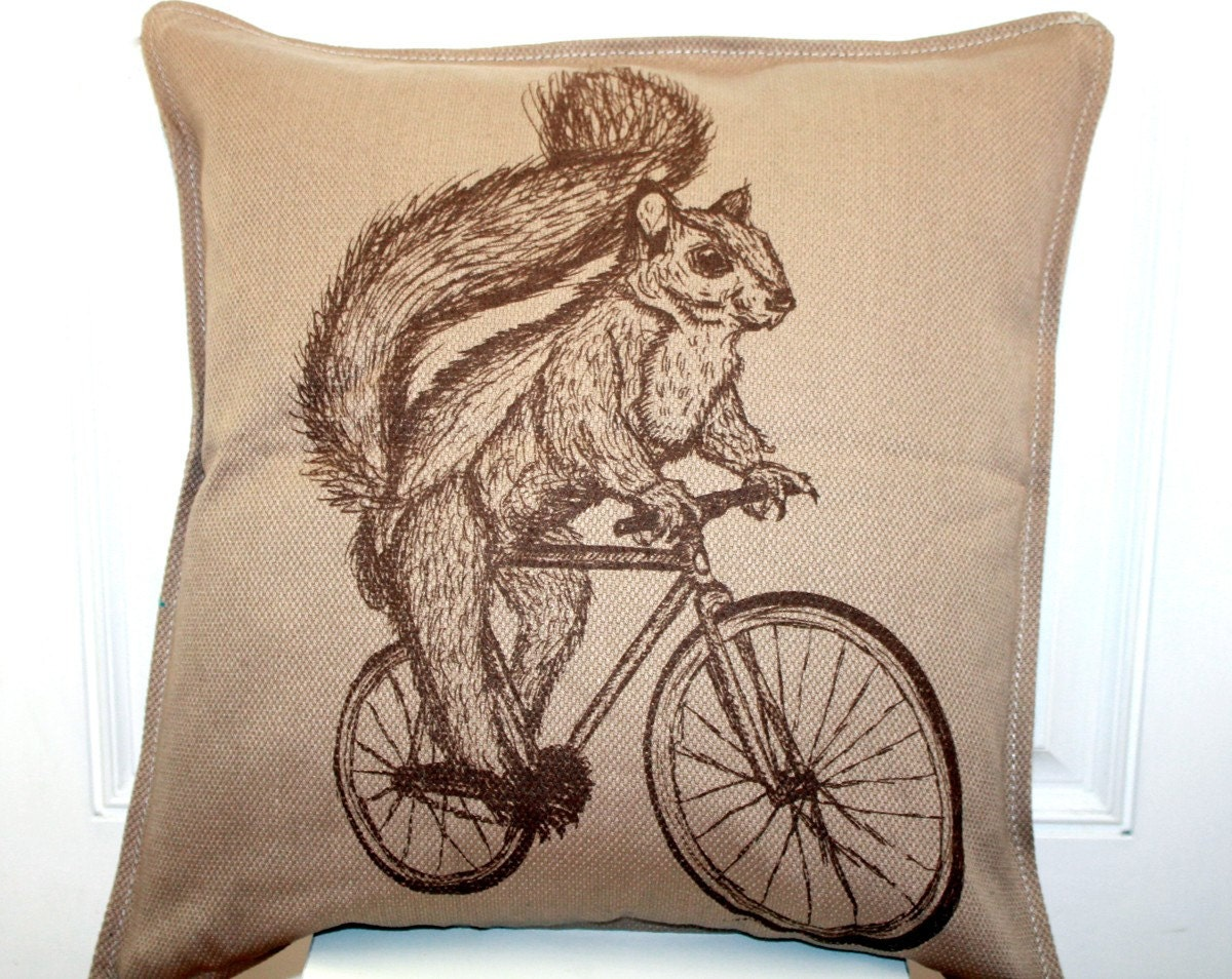 Squirrel On Bike Tan Screen Printed Throw Pillow Down