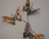 Copper Wall Sculpture - Butterfly Trio