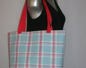 Red, White, Blue Plaid Large Tote Bag