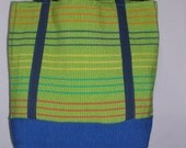 Lime Green Ribbed and Striped Totebag