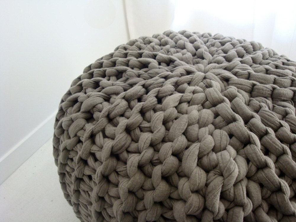 Super Chunky Knit Pouf in Mushroom Large