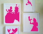 Set of 4 Princess Silhouettes