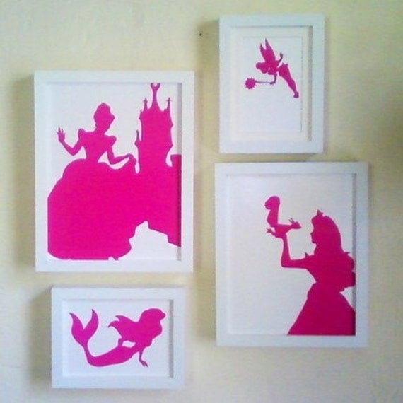 Set of 4 Disney Princess Silhouettes