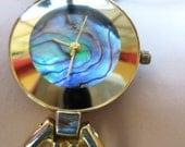 Watch Ladies Vintage Modernist Tale Beverly Hills Bracelet Abalone Face super Retro Design Working  on SaLe Now