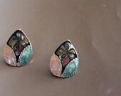 Retro Enamel Art Earrings Tear Drop Rhodium from  1960s  Earrings and are Pierced Post Faux Cloisonne Art  On SaLe