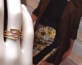 Red Ruby Journey Ring  Vintage Ring Marked 18k gold HGE  Size 7  from 1980's 3 in one Stackable Ring made by Mac Rae Unused