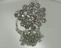 CLUSTER Ring Cocktail Cz Crystals 18Kt White Gold HGE  over Sterling  Ring Available in sizes 7 and 8