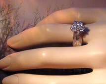 Vintage Cluster Ring In 18kt White Gold HGE over Sterling Repousse RING SIZE 8