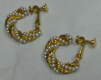 Vintage Simulated Pearls  Braided Beaded Gold Tone  Hoop Clip On Earrings Bridal Mother of the Bride Hoops
