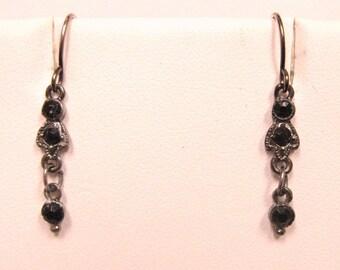 Black Jet Glass  Dangle Earrings Silver  JAPANNED Finish Vintage Jewelry Pierced Earrings On SaLe Now