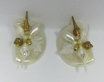 Celluloid Vintage Seashell  Clip Earrings in Iridescent Combination and White Pearl Beads.Super Nice Art Earrings  On SaLe Now