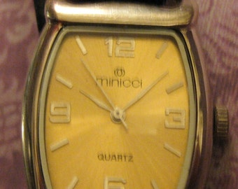 Vintage Minici Quartz Watch  27353 Gently  Used  Working Black Leather Band On SaLe Now