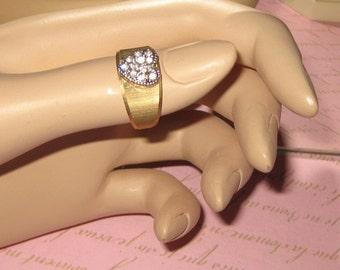 Heart Cluster Ring Vintage Signed  Sparkle Cz Rhinestones   14k Gold Plated Vermeil Sterling SIZE 6  Uncas