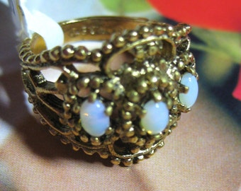 Romance Rococo Cluster Opal Ring Filligree Spanish Medieval design Cabochons  18K gold  hge Vermeil  STERLING  Vintage 1960's SIZE 7