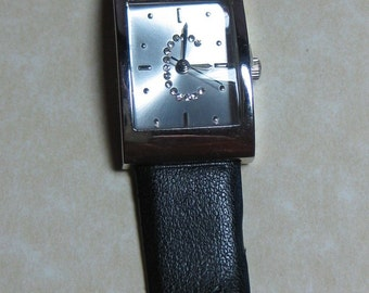 Vintage late 1980's Wrist Watch Rhinestones with letter C Leather Black Band