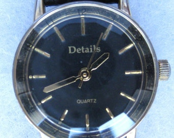 Wrist Watch with Geometric Face Dome  Classic Black Leather Band and  Working  Condition Fantastic Design  On SaLe Now